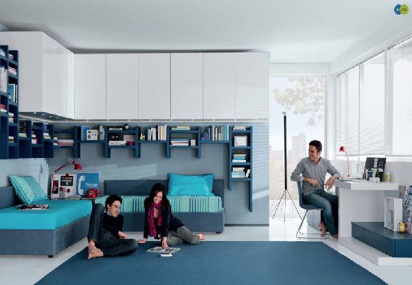 New Contemporary teenage bedroom furniture in white and turquoise blue colors teenage bedroom furniture