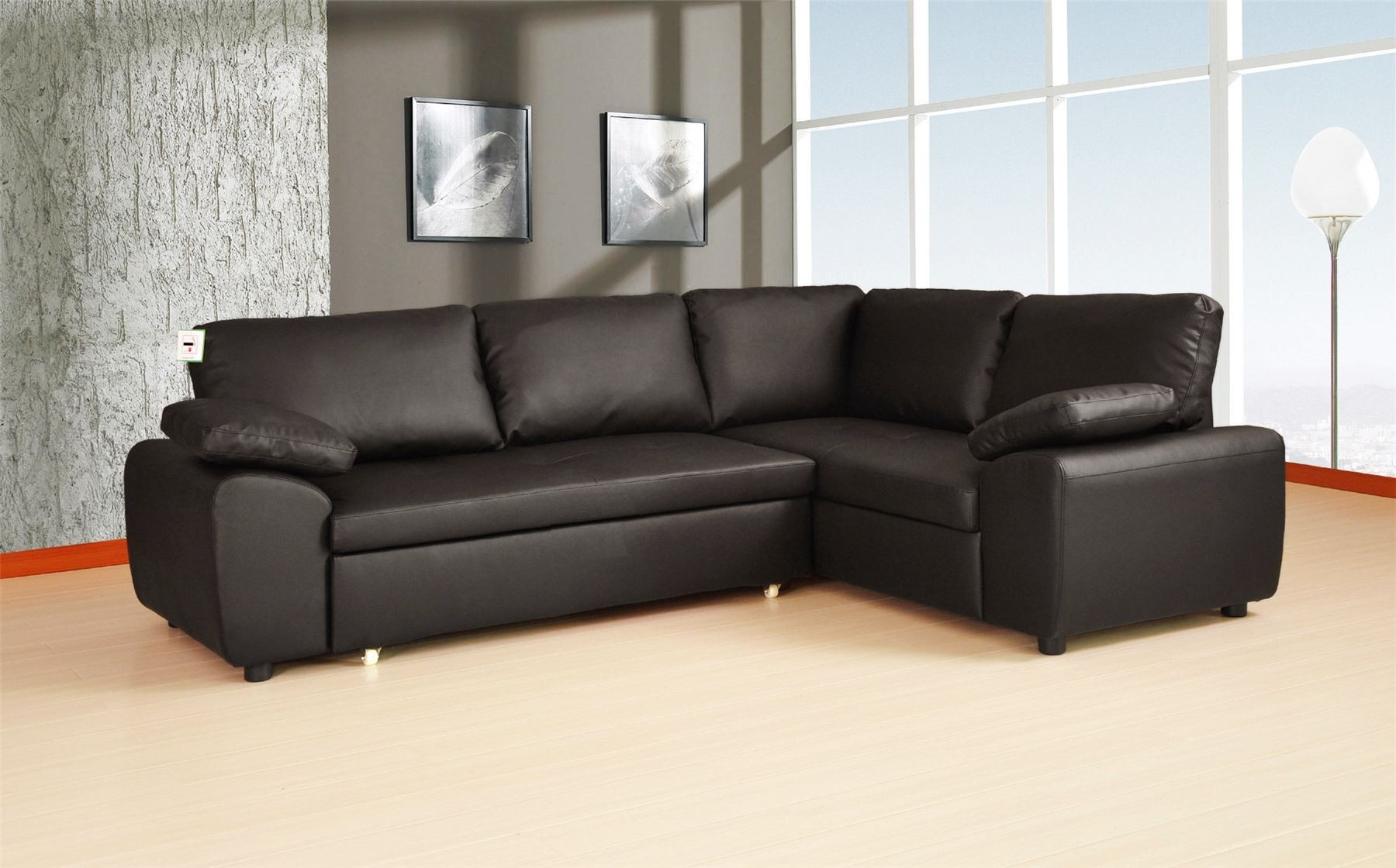 Corner sofa bed black leather spencer corner sofa bed with for Black corner sofa