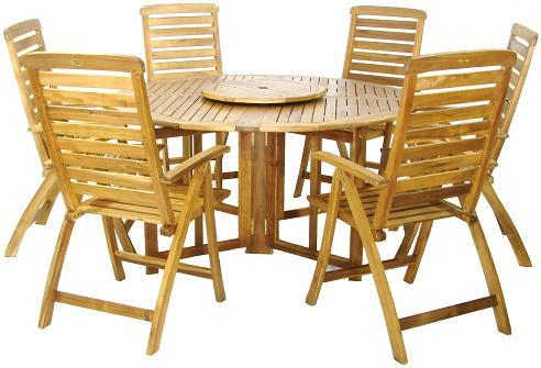 New Henley Garden Furniture Set round wooden garden table and chairs