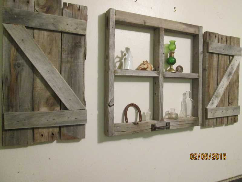 Rustic Little Window Frame With Shutters Zoom