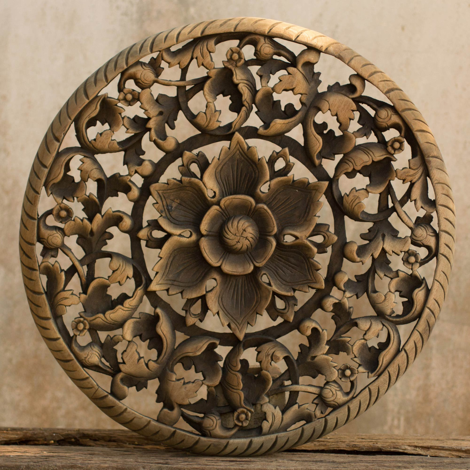 New Tree Dimensional Floral Wooden Wall Hanging - Siam Sawadee carved wood wall art panels