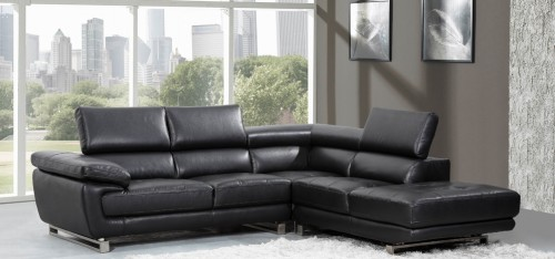 New Valencia Corner Midnight Black H8582RHF black leather corner sofa