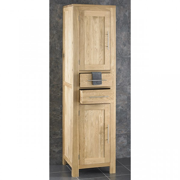 Unique Alta Solid Oak 180cm Tall Two Drawer Two Door Freestanding Unit oak bathroom furniture freestanding