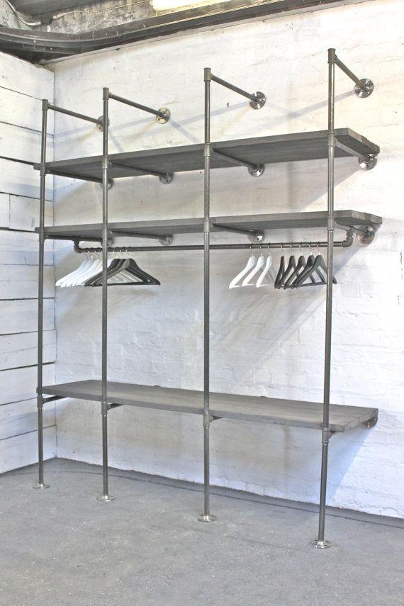 Elegant Grey Washed Reclaimed Scaffolding Boards and Dark Steel Pipe Industrial Open  Wardrobe open wardrobe system