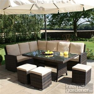 Amazing Maze Rattan Kingston Corner Dining Rattan Set outdoor deck furniture
