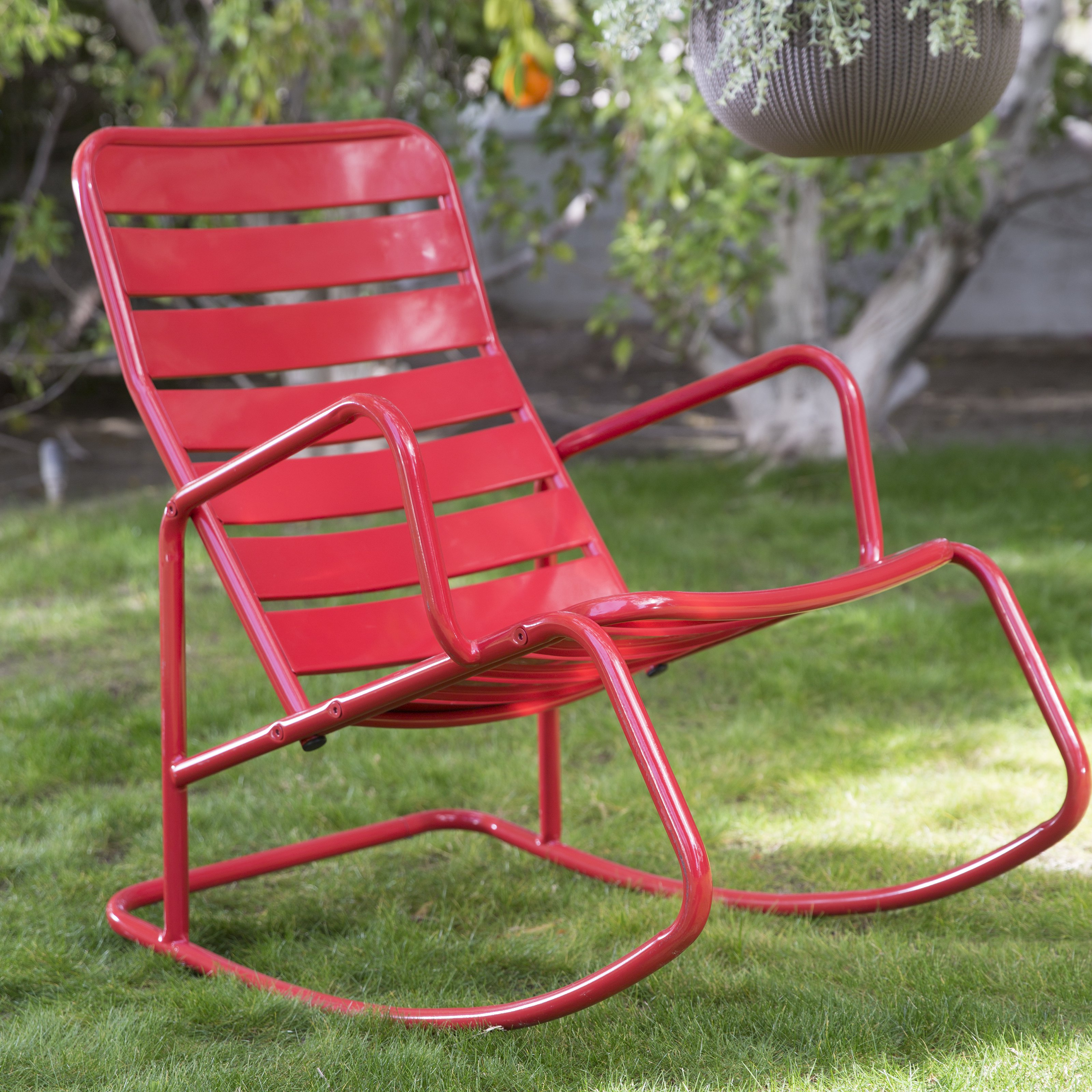 Trending Belham Living Adley Outdoor Metal Rocking Chair Set with Side Table - outdoor metal rocking chairs