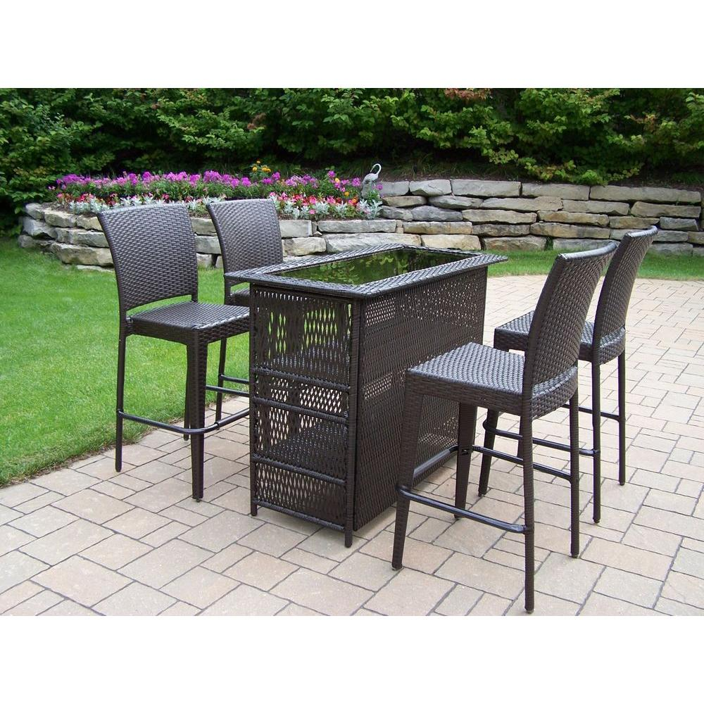 Compact Elite Resin Wicker 5-Piece Patio Bar Set outdoor patio bar sets