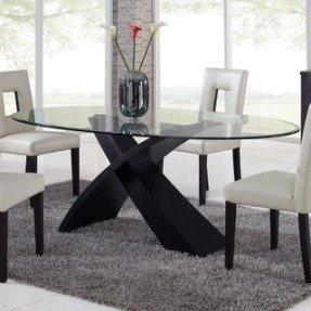 Trending Global Furniture Exclaim Oval Glass Dining Table - modern - oval glass dining table