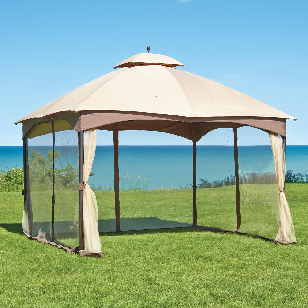 Patio canopy gazebo dc america hexagon gazebo with for Outdoor furniture gazebo