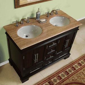 Photos of 48-inch Compact Double Sink Travertine Stone Top Bathroom Vanity Cabinet  0224TR 48 double sink vanity