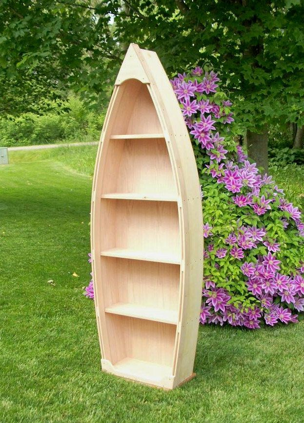 Photos of 6 Ft Unfinished Row Boat Bookshelf via Etsy for the Nautical Baby Room? boat shelf bookcase