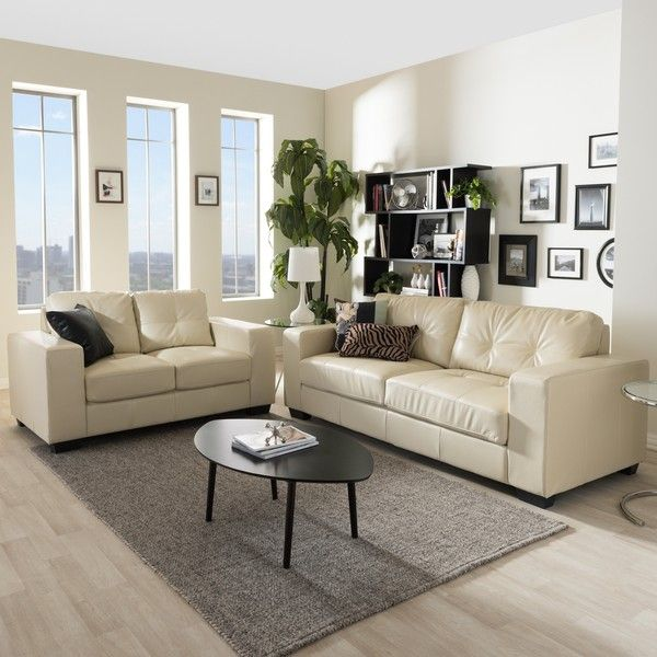 Photos Of Baxton Studio Whitney Modern Ivory Faux Leather Sofa And Loveseat  Set ($1,189)