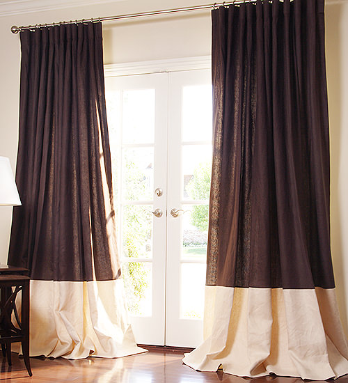 Photos of Bordered Linen + Linen Custom Drapes custom drapery panels