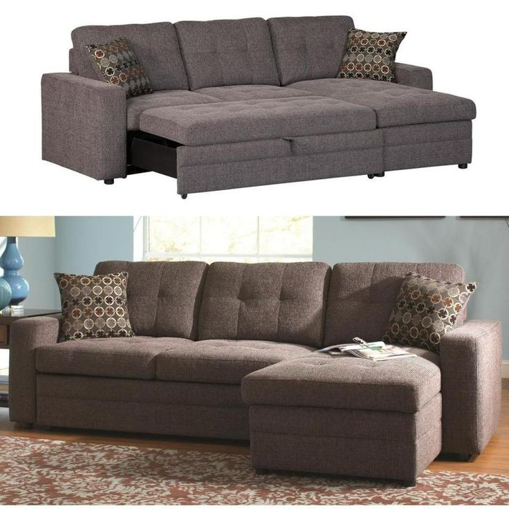 Photos of Coaster Gus Charcoal Chenille Upholstery Small Sectional Storage Chaise Sofa  Pull-Out Bed sleeper sectional sofa for small spaces