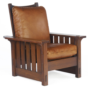 Photos of Morris chairs, such as this one, showcase the clean lines and simplicity arts and crafts furniture style