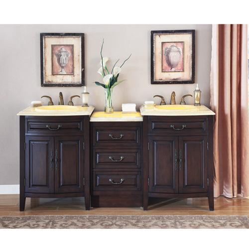 Photos of Silkroad Double Sink Vanity HYP-0726-TL-72-YOL ... 72 double sink vanity