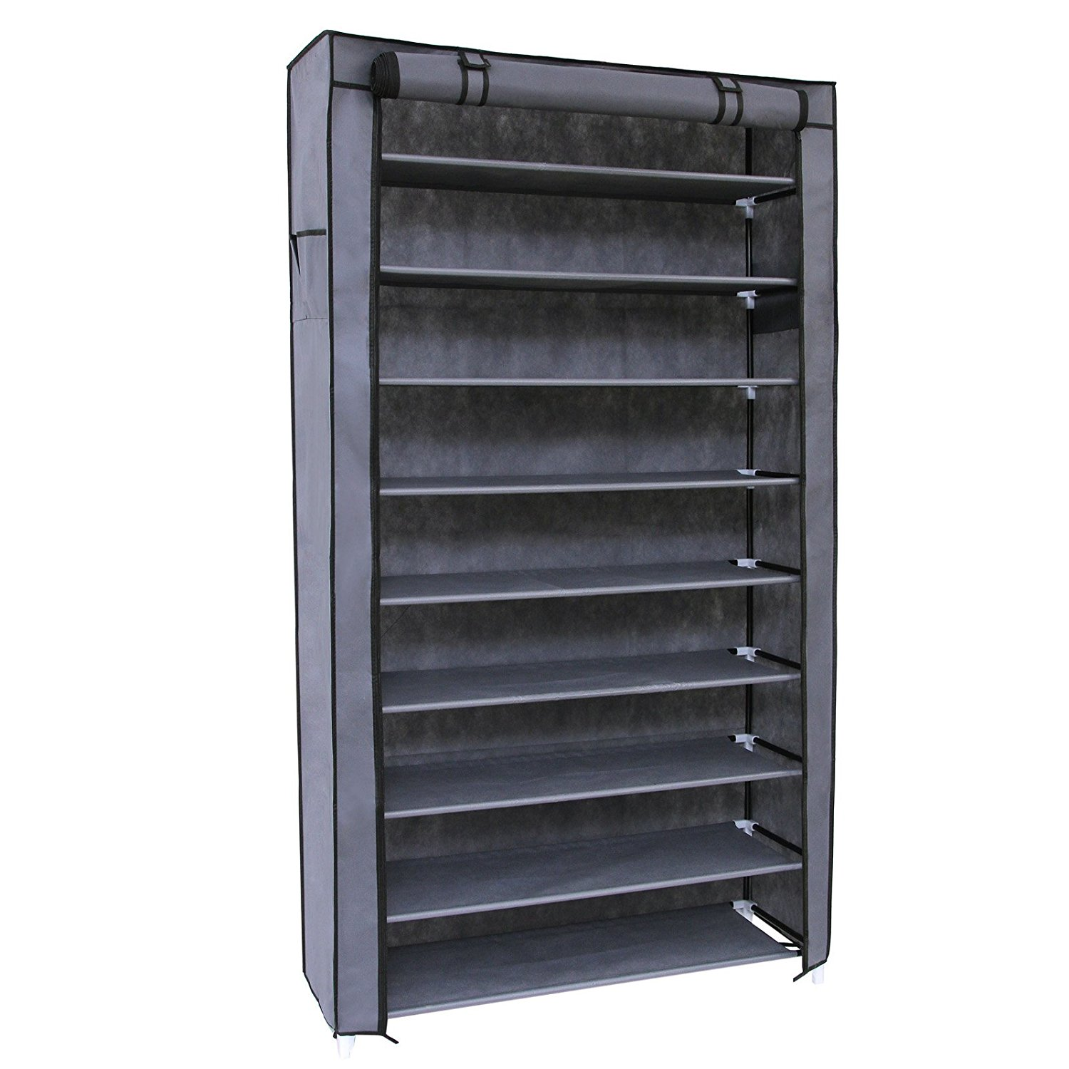Photos of SONGMICS 10 Tiers Shoe Rack with Dustproof Cover Closet Shoe Storage closet shoe organizer