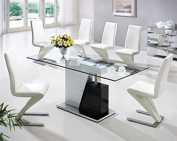 Photos of View in gallery latest dining table designs with glass top