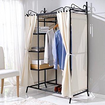 Photos of Wardrobe Breezy Metal Frame Cotton Cover Beige Black 109 x 171 x 57 metal frame wardrobe