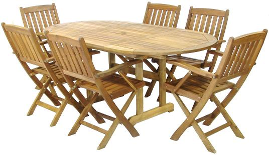 Photos of Wooden Garden Furniture - Six Seater Set / Parasol wooden garden table and chairs
