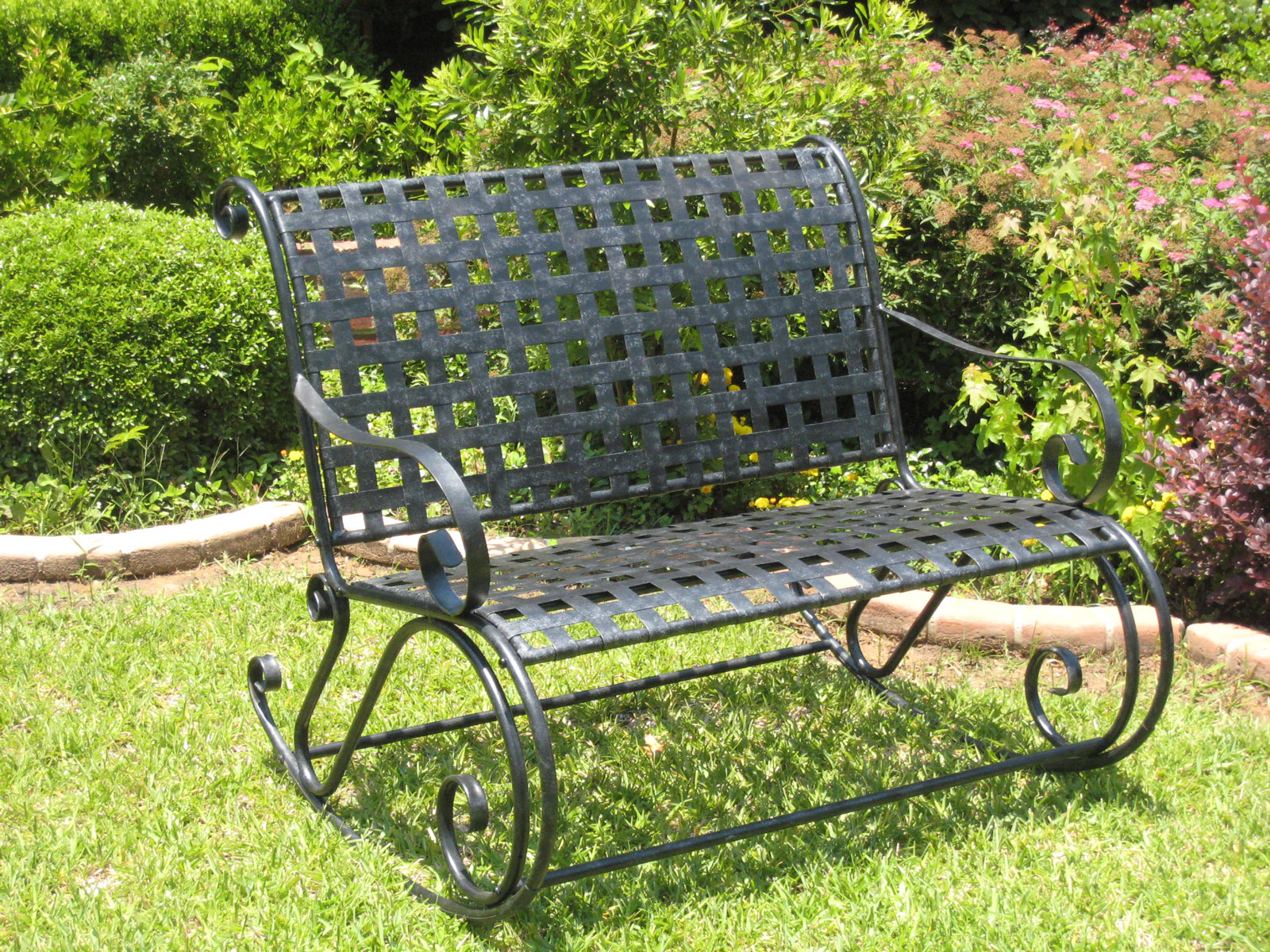 Photos of Wrought Iron Bench Rocker - Lattice Image wrought iron benches outdoor