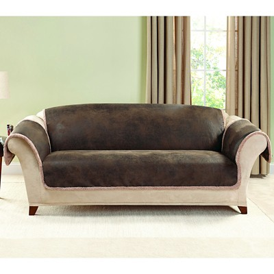 Pictures of Brown Vintage Leather Sofa Slipcover - Sure Fit®. $83.99 Reg $119.99 leather sofa covers