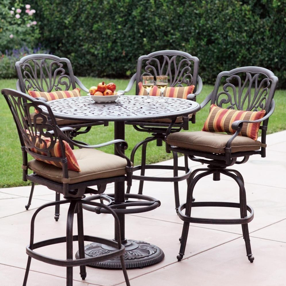 Pictures of Darlee Elisabeth 5 Piece Cast Aluminum Patio Bar Set With Swivel Bar Stools 5 piece bar height patio set