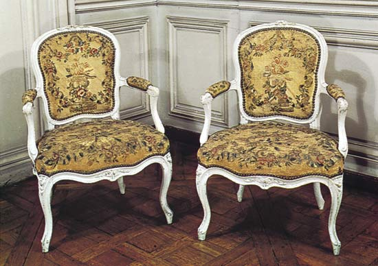 Pictures of French Rococo chairs by Louis Delanois (1731-92); in the Bibliothèque de rococo style furniture