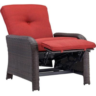 Pictures of Hanover Strathmere Crimson Red Outdoor Reclining Patio Arm Chair-STRATHRECRED  - The reclining patio chair