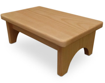 Pictures of HollandCraft - Unfinished Wood Step Stool Wooden Foot Stool Bed Step Stool wooden step stool