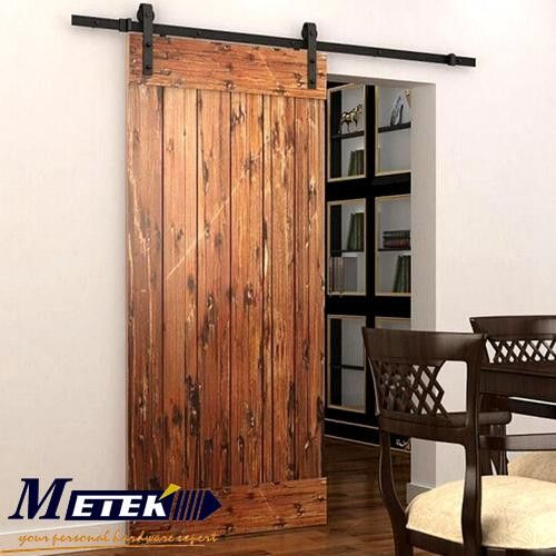 Popular 4.9FT/6FT/6.6FT carbon steel interior wood sliding barn door hardware interior sliding barn doors