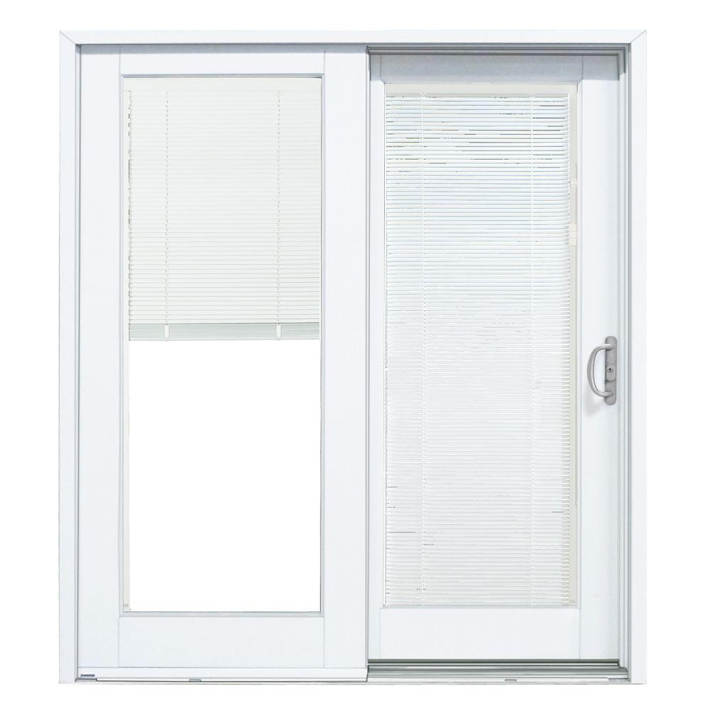 Popular 72 in. x 80 in. Composite White Right-Hand Smooth Interior with Blinds sliding patio doors