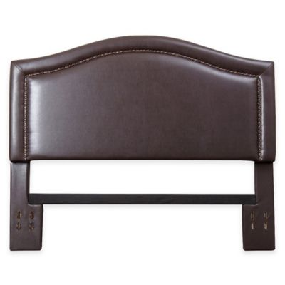 Popular Abbyson Living Sophia Nail Head Trim Full/Queen Headboard in Brown Bonded leather queen headboard
