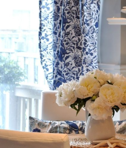 Popular curtains blue and white : ... white curtains kvist pair living room curtains blue and white floral curtains