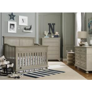 Por Dolce Babi Naples 3 Piece Full Panel Nursery Set In Grey Satin Furniture