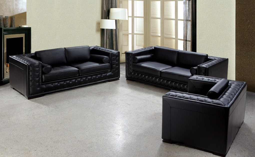 Popular Dublin Luxurious Black Leather Sofa Set black leather sofa set