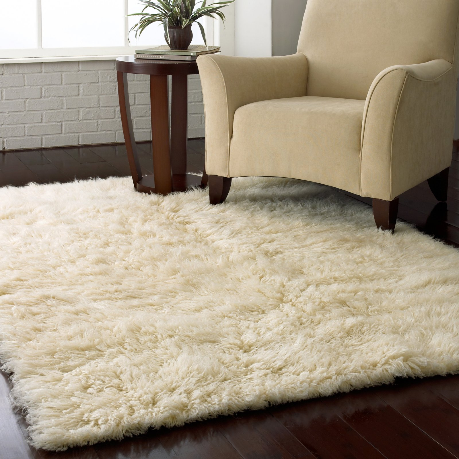 Popular Flokati Shag Rug - Natural plush area rugs for living room