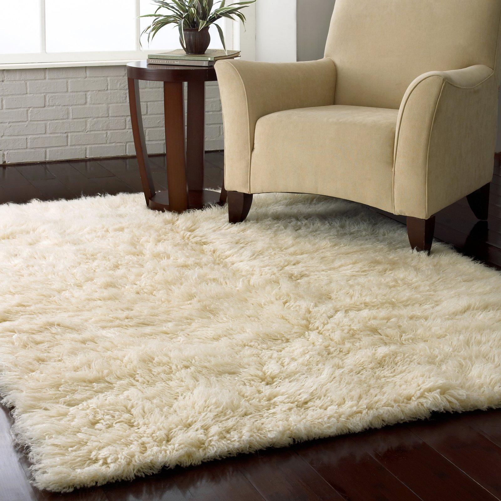 Popular Flokati Shag Rug - Natural plush area rugs for living room