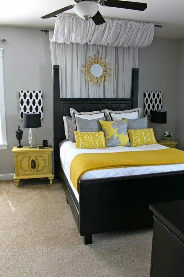Popular gray black and yellow bedroom color scheme black gray and white bedrooms