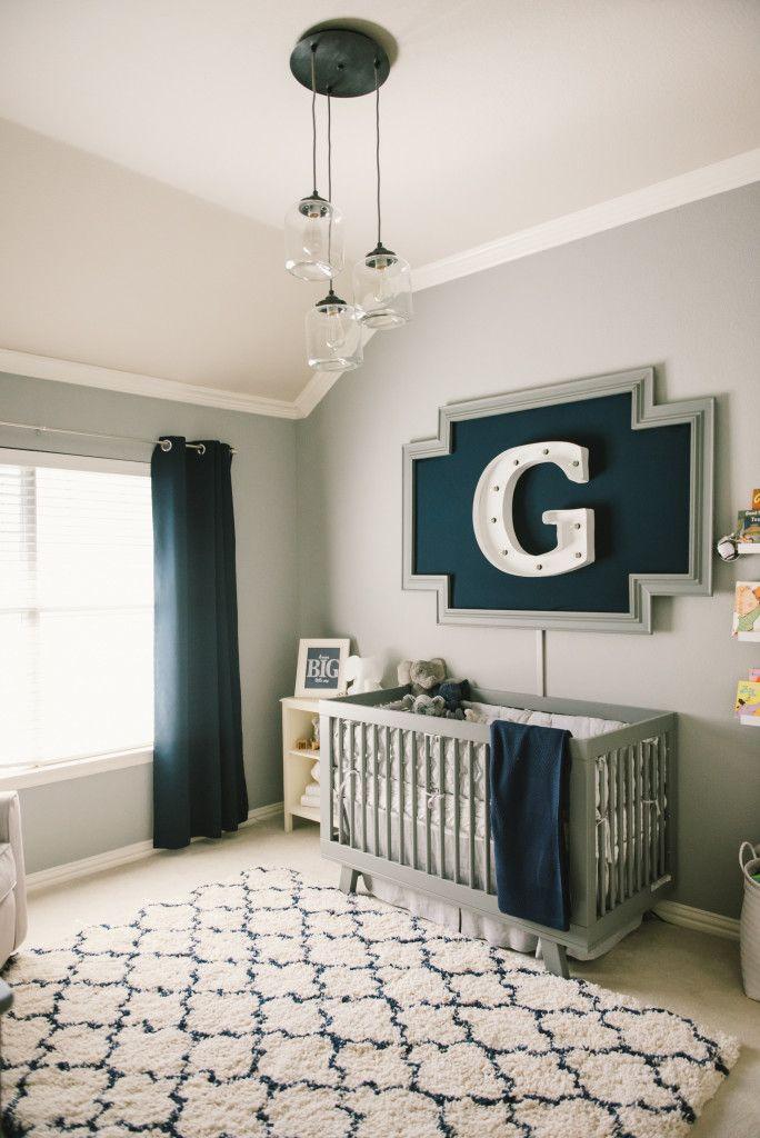 Popular Graysonu0027s Modern Grey, Navy and White Nursery baby boy room decoration ideas