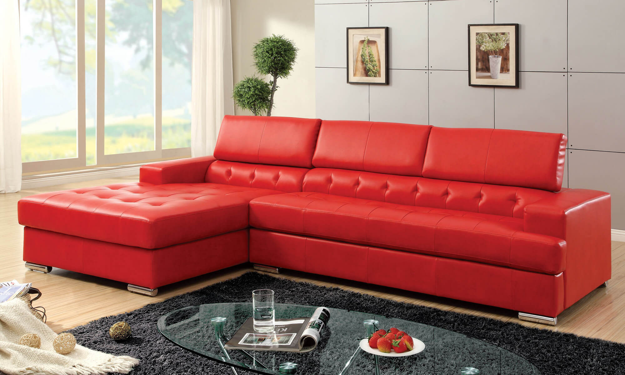 Popular Hokku Designs Red Leather Sectional with Partially Tufted Upholstery red sectional sofa
