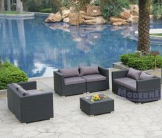 Awesome Popular Modern Furniture All Weather Collection: Set Of 3 Grey Loveseats  And 1 Grey