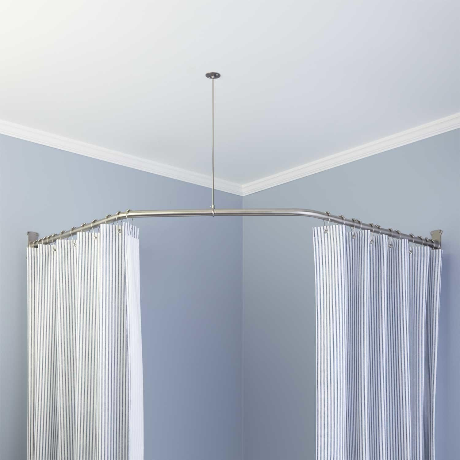 por neo angle shower rod and ceiling support corner shower curtain rod