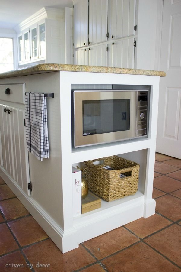 Popular Our Remodeled Kitchen Island with Built-in Microwave Shelf countertop microwave shelf