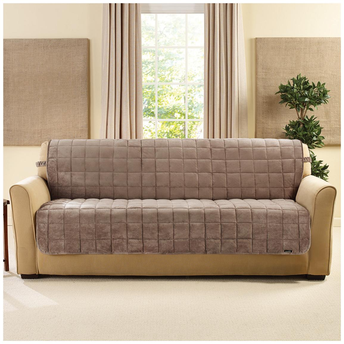 Popular Sure Fit® Quilted Velvet Furniture Friend Armless Sofa Slipcover, Sable armless sofa slipcover