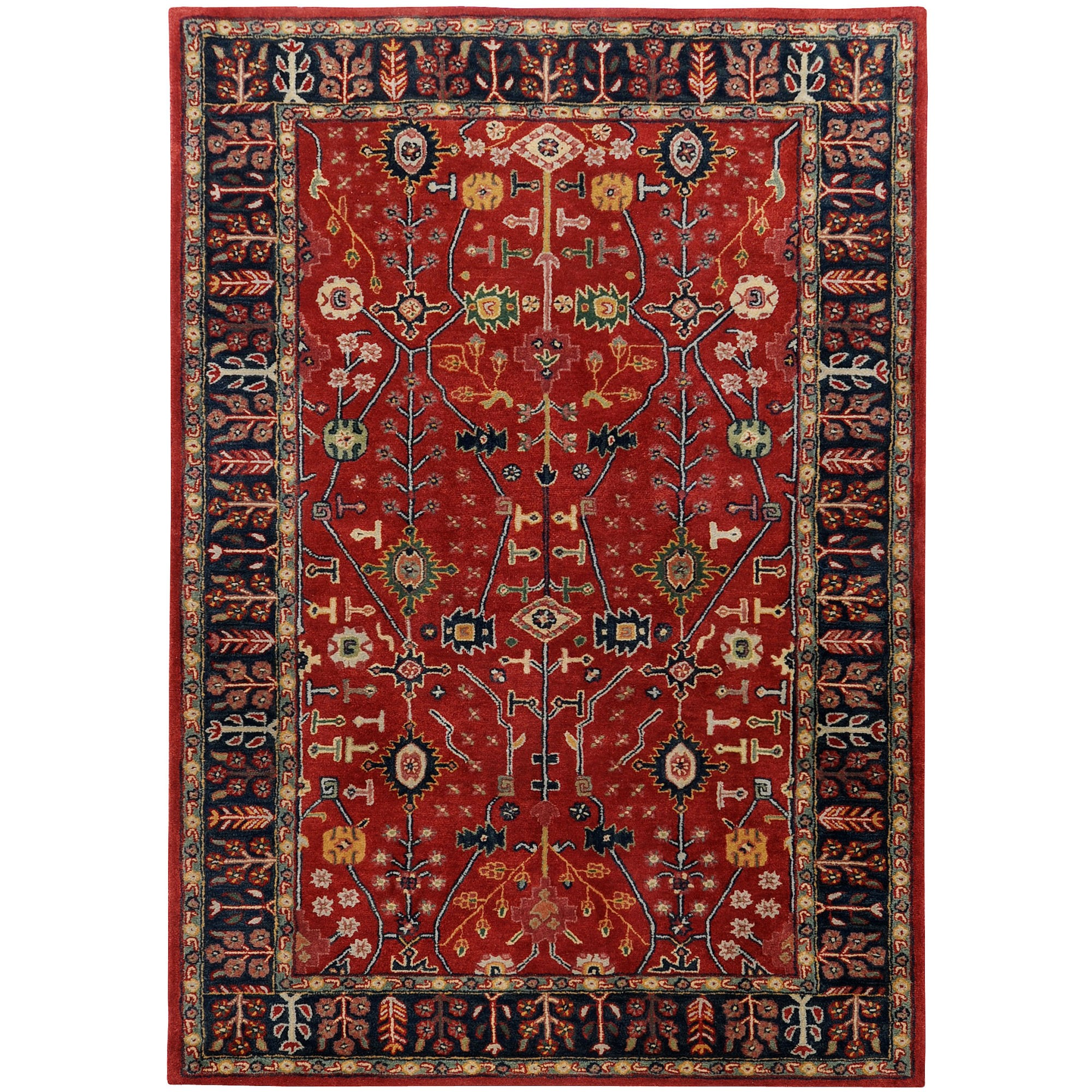 Popular Surya Ancient Treasures Red / Navy Oriental Rug - A135 red persian rug