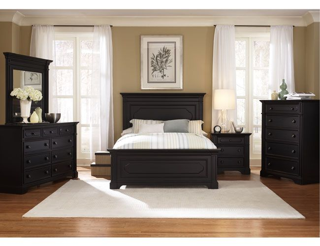 Popular THE FURNITURE :: Black Rubbed Finished Bedroom Set with Panel Bed, black bedroom furniture sets