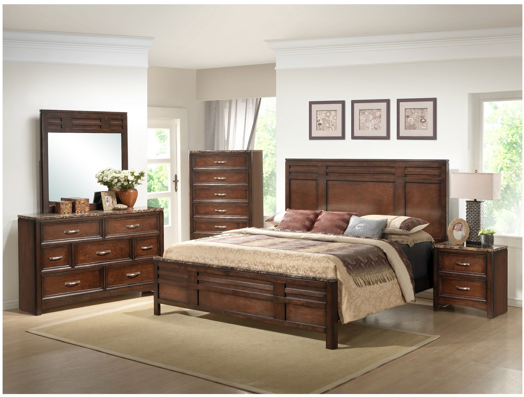 Get your walnut bedroom furniture for 3 bedroom set