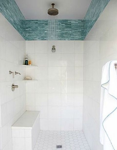 Popular wide turquoise glass tile border in the shower border tiles for bathrooms