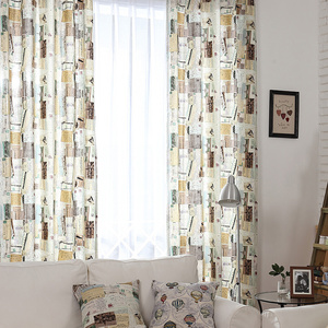 Stunning Retro style curtains decorated with postcards Patterns retro style curtains